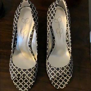 Black and white peep Toe heels